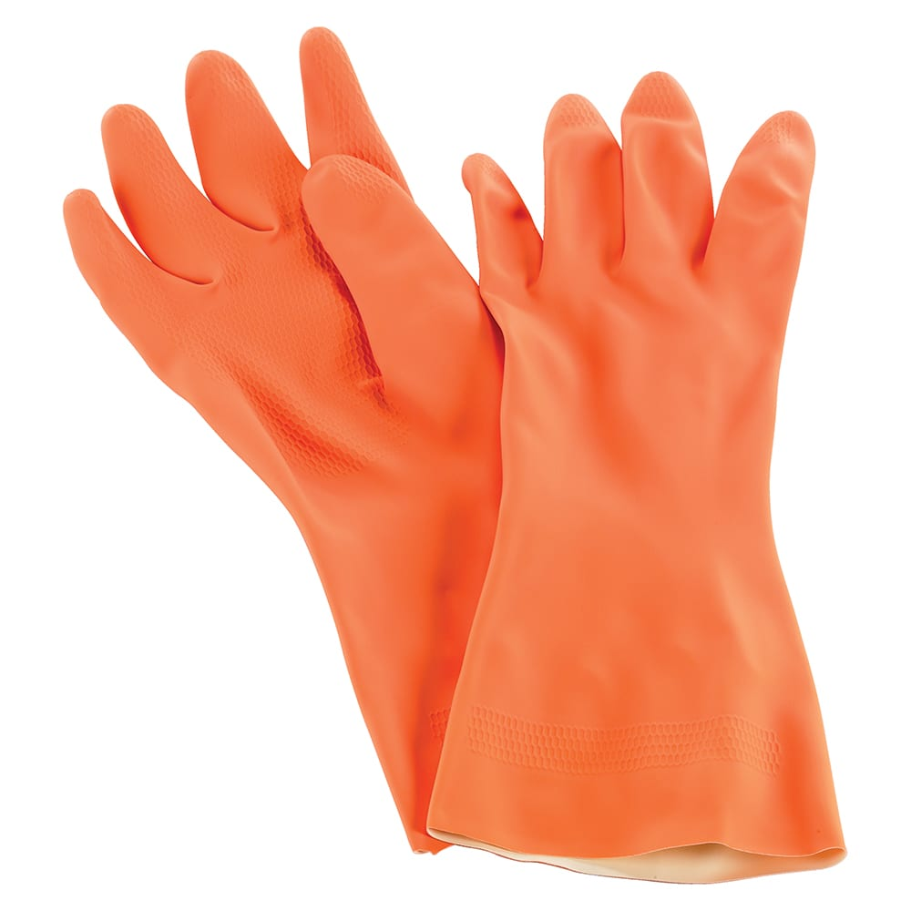 San Jamar 720-M Neoprene Latex Lined Dishwashing Glove, Medium, Heat Resistant, Orange