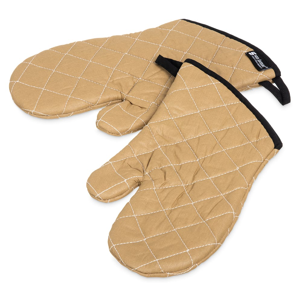 "San Jamar 811TG13 Non-Stick Coated Oven Freezer Mitt, 13"", One Size, Tan"