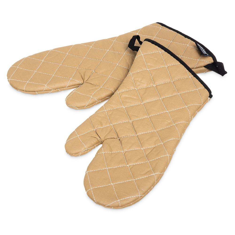 "San Jamar 811TG15 Non-Stick Coated Oven Freezer Mitt, 15"", One Size, Tan"