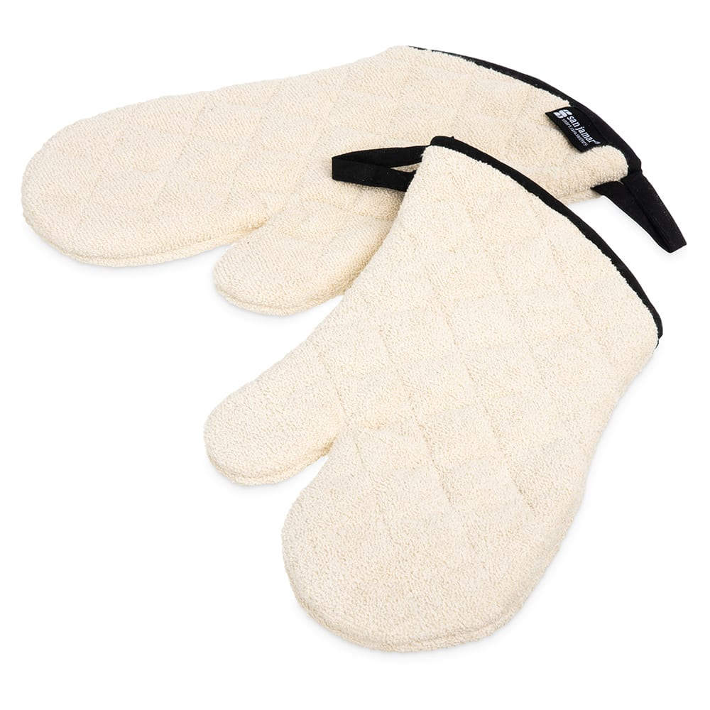 "San Jamar 813TM Terry Oven Mitt, 13"", Heavy Duty Institutional Grade, Tan"