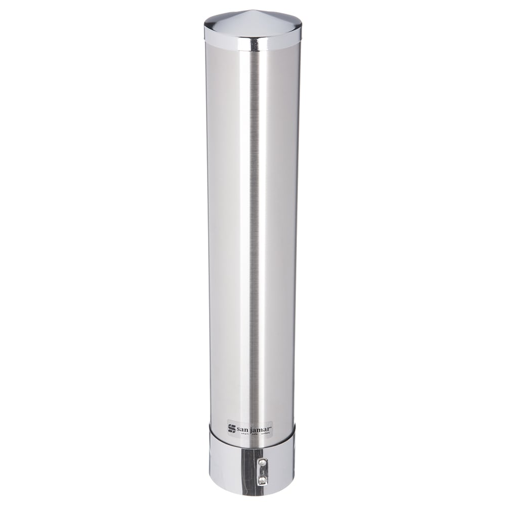 San Jamar C3000PSS Water Cup Dispenser, Pull Type, 1 3/4 to 4 1/2 oz, Satin SS