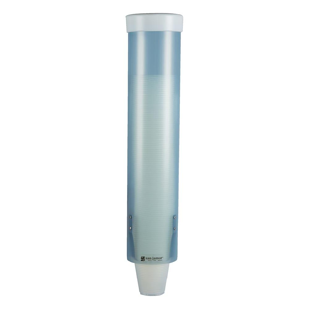 San Jamar C3165FBL Medium Pull-Type Water Cup Dispenser, Cone 4-10 oz, Flat 4-10 oz, Frost Blue