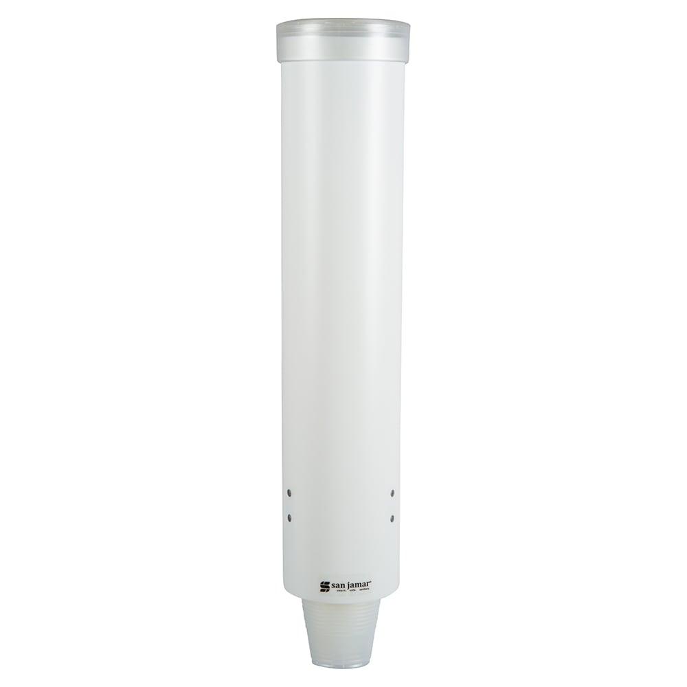 San Jamar C3165WH Medium Pull-Type Water Cup Dispenser, Cone 4 10 oz, Flat 4 10 oz, White