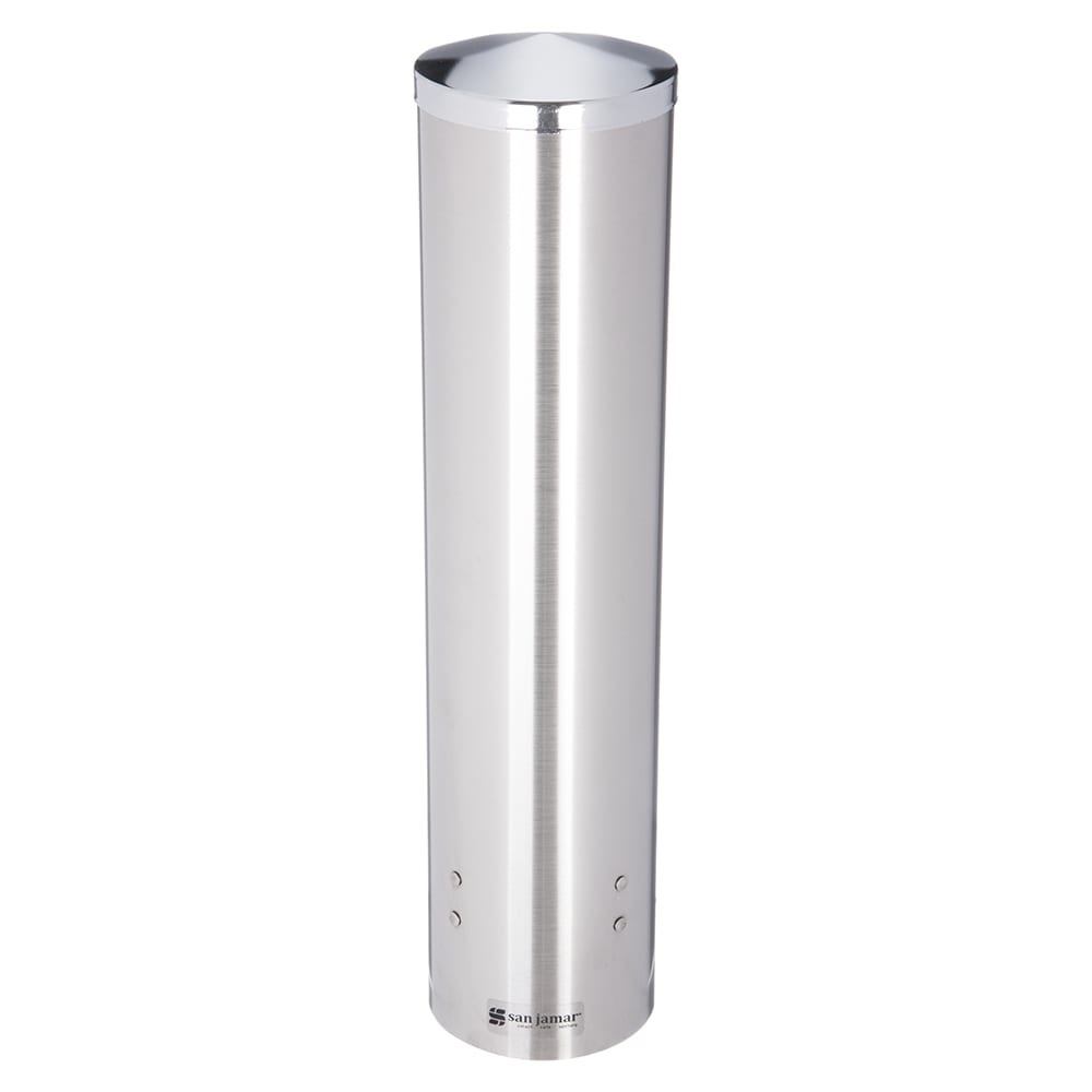 San Jamar C3250SS Classic Large Water Cup Dispenser, 4-1/2 to 7 oz Cone, 6-12 oz Flat