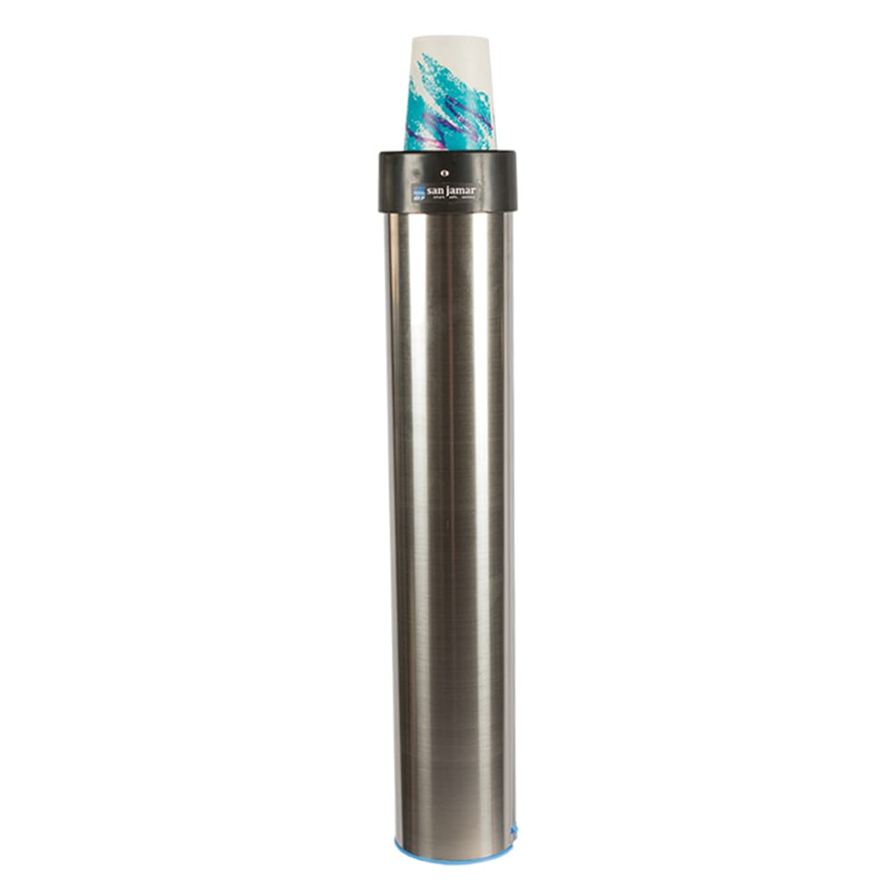 San Jamar C3400EV Surface Mount Beverage Cup Dispenser, Elevator, 12-24 oz Cups, Vertical Mount