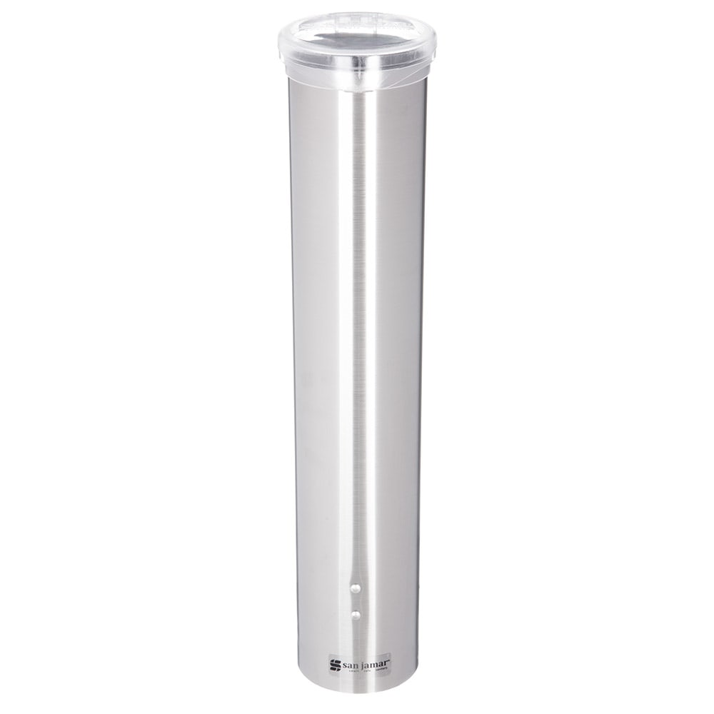 San Jamar C4150SS Small Pull Type Water Cup Dispenser, Cone 3 4 1/2 oz, Flat 3 5 oz, Stainless