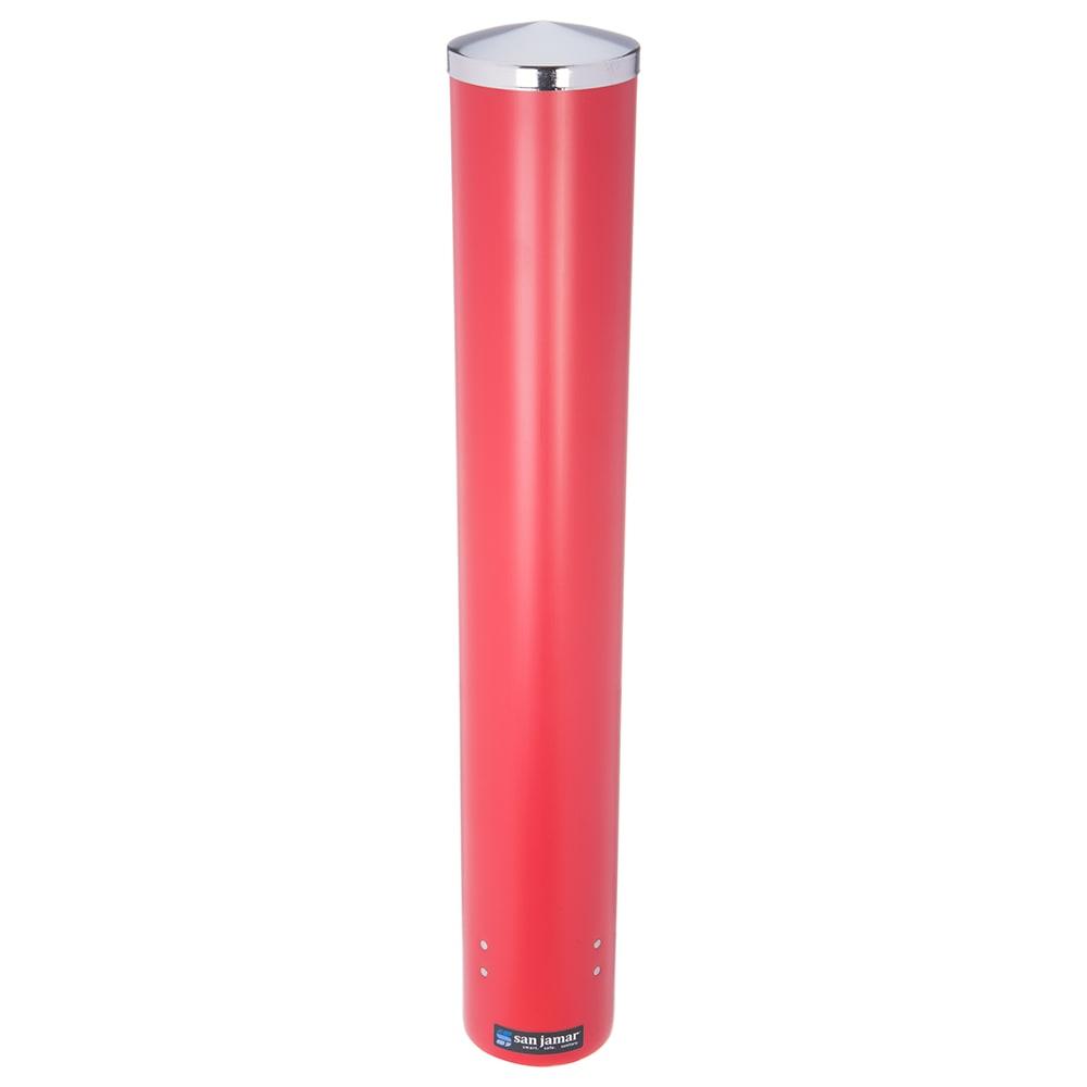 San Jamar C4210PRD Pull Type Paper Plastic Beverage Cup Dispenser, 4 10 oz, Red Poly