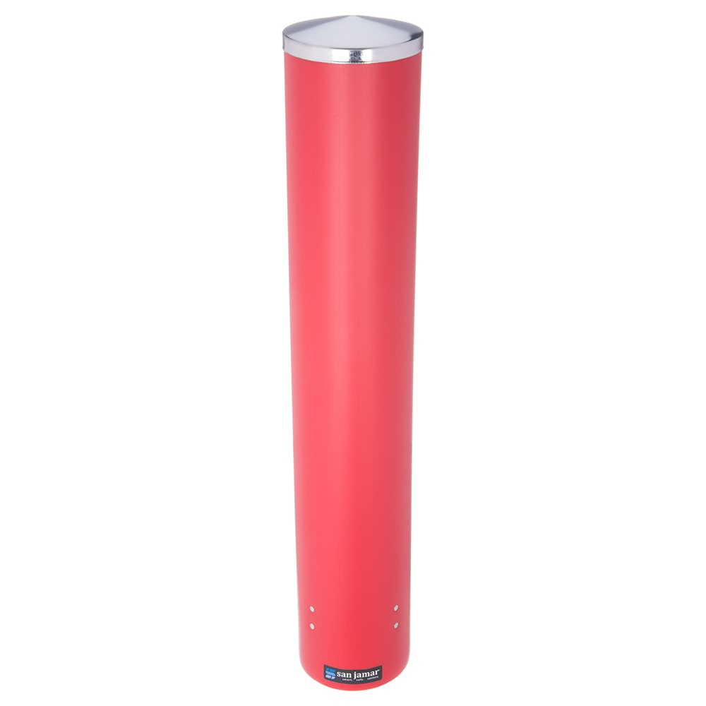 San Jamar C4410PRD Pull Type Paper Plastic Beverage Cup Dispenser, 12-24 oz, Red Poly
