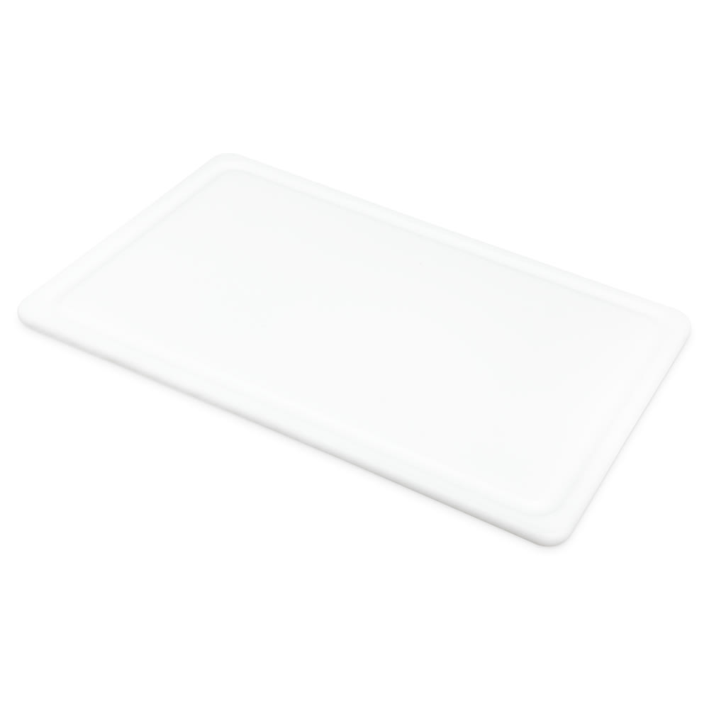 "San Jamar CB121812GVWH Grooved Cutting Board, 12"" X 18"" X 1/2 in, NSF, White"