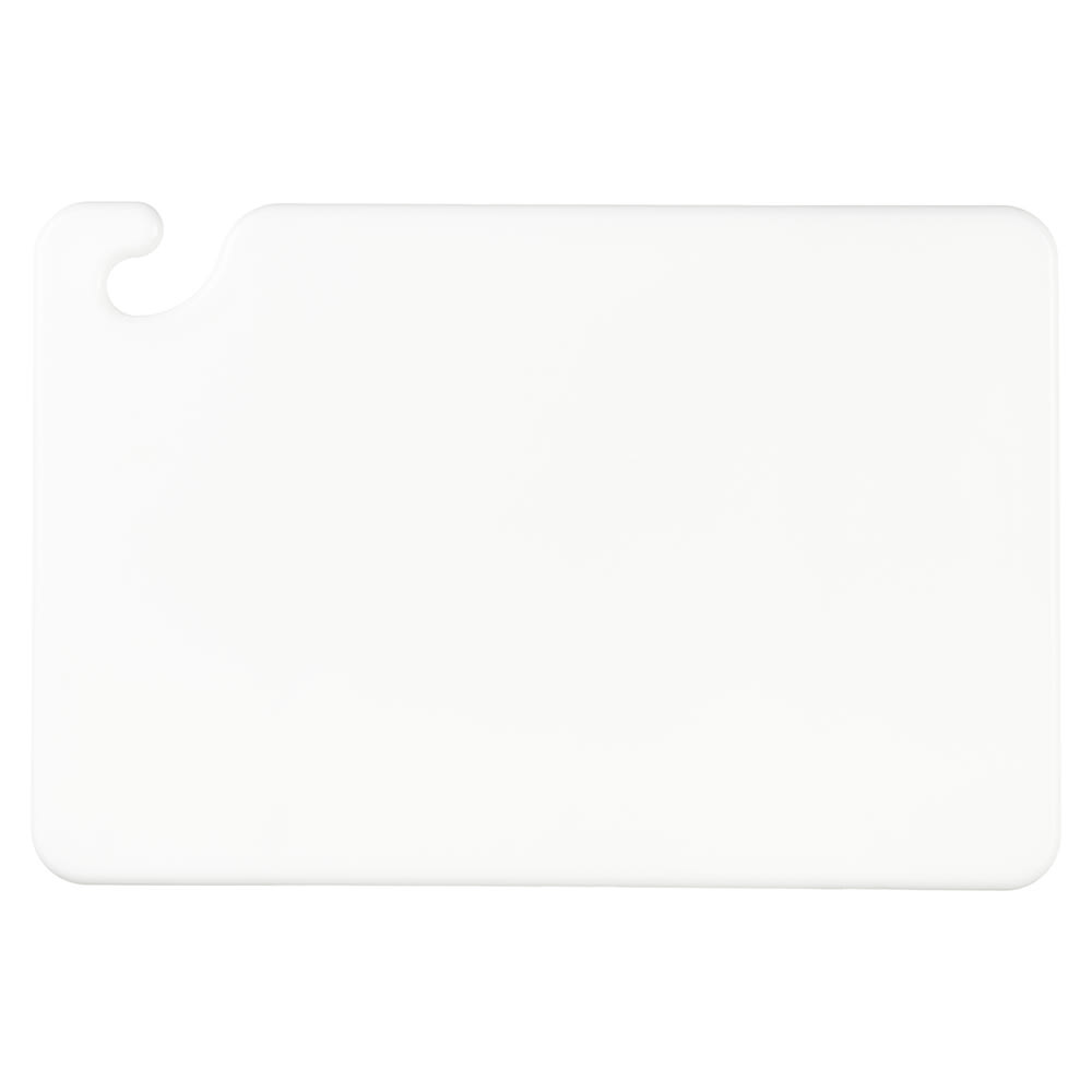 San Jamar CB121812WH Cut-N-Carry Cutting Board, 12 x 18 x 1/2 in, NSF, White