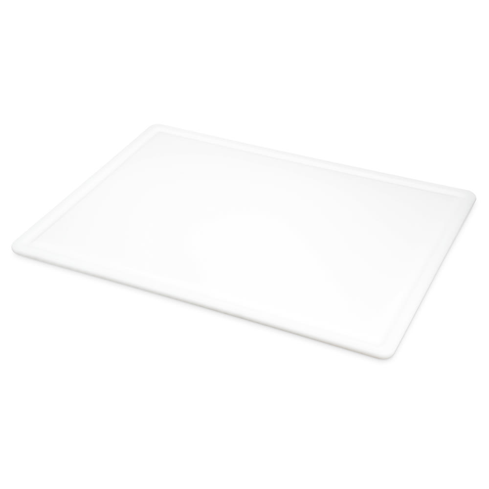 San Jamar CB182412GVWH Grooved Cutting Board, 18 x 24 x 1/2 in, NSF, White
