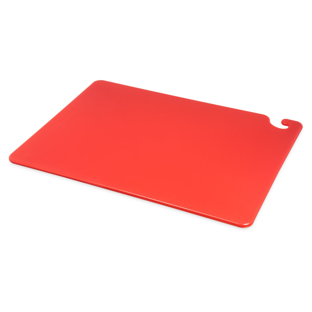 San Jamar CB182412RD Cut-N-Carry Cutting Board, 18 x 24 x 1/2 in, NSF, Red