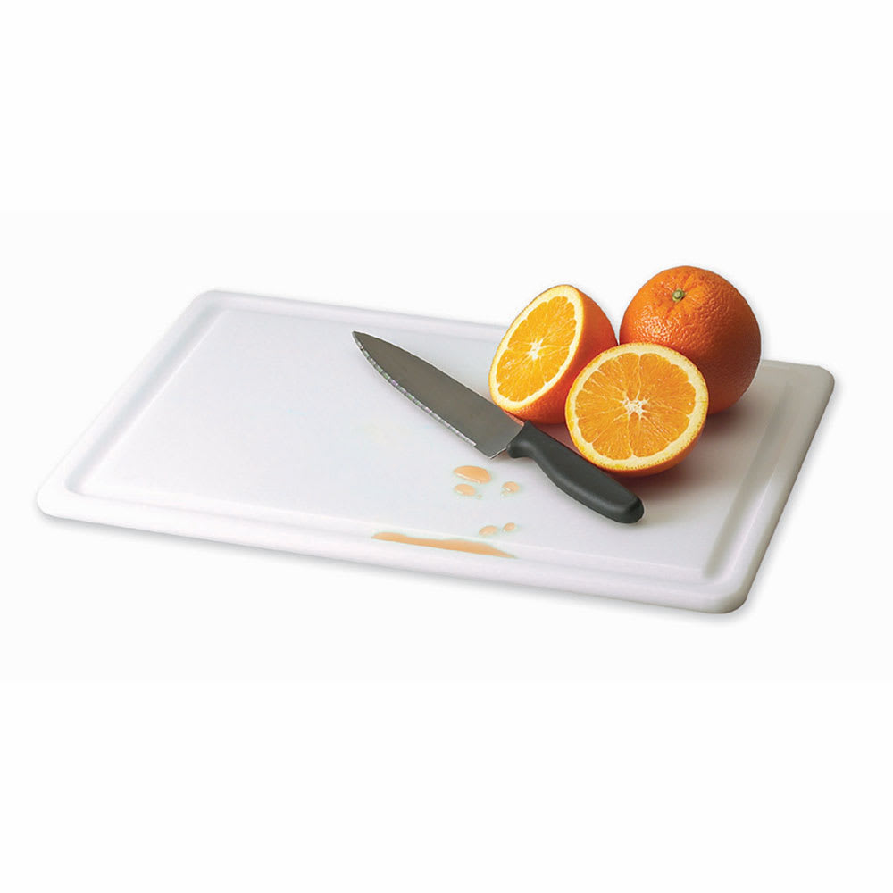 "San Jamar CB182434GVWH Grooved Cutting Board, 18"" X 24"" X 3/4 in, NSF, White"