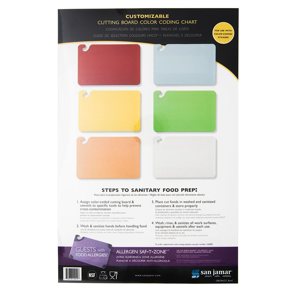 "San Jamar CBCWLCTST Cutting Board Smart Chart, Color-Coded & Laminated, 11"" x 17"""