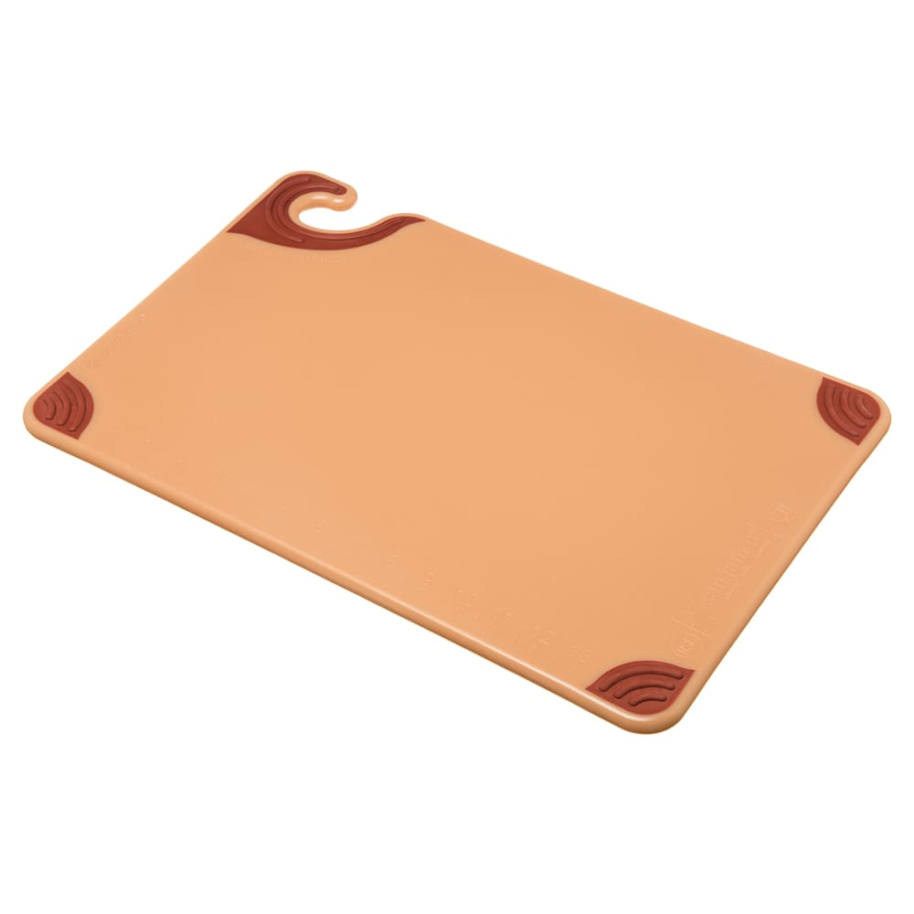 San Jamar CBG121812BR Saf-T-Grip Cutting Board, 12 x 18 x 1/2 in, NSF, Brown