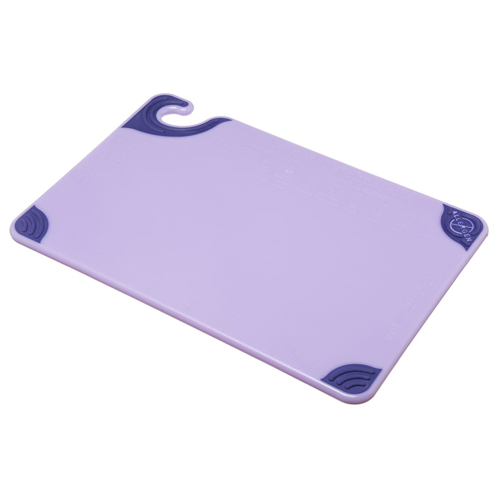 San Jamar CBG121812PR Saf-T-Grip Cutting Board, 12 x 18 x 1/2 in, NSF, Purple