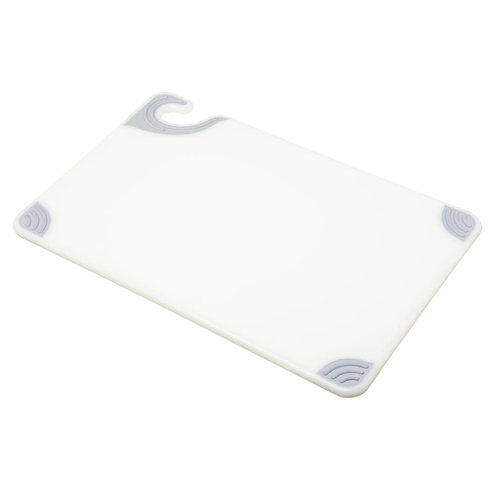 San Jamar CBG121812WH Saf-T-Grip Cutting Board, 12 x 18 x 1/2 in, NSF, White