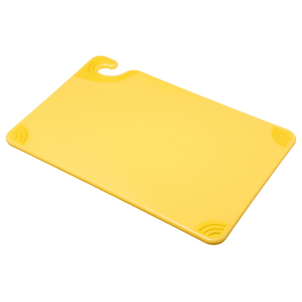 San Jamar CBG121812YL Saf-T-Grip Cutting Board, 12 x 18 x 1/2 in, NSF, Yellow