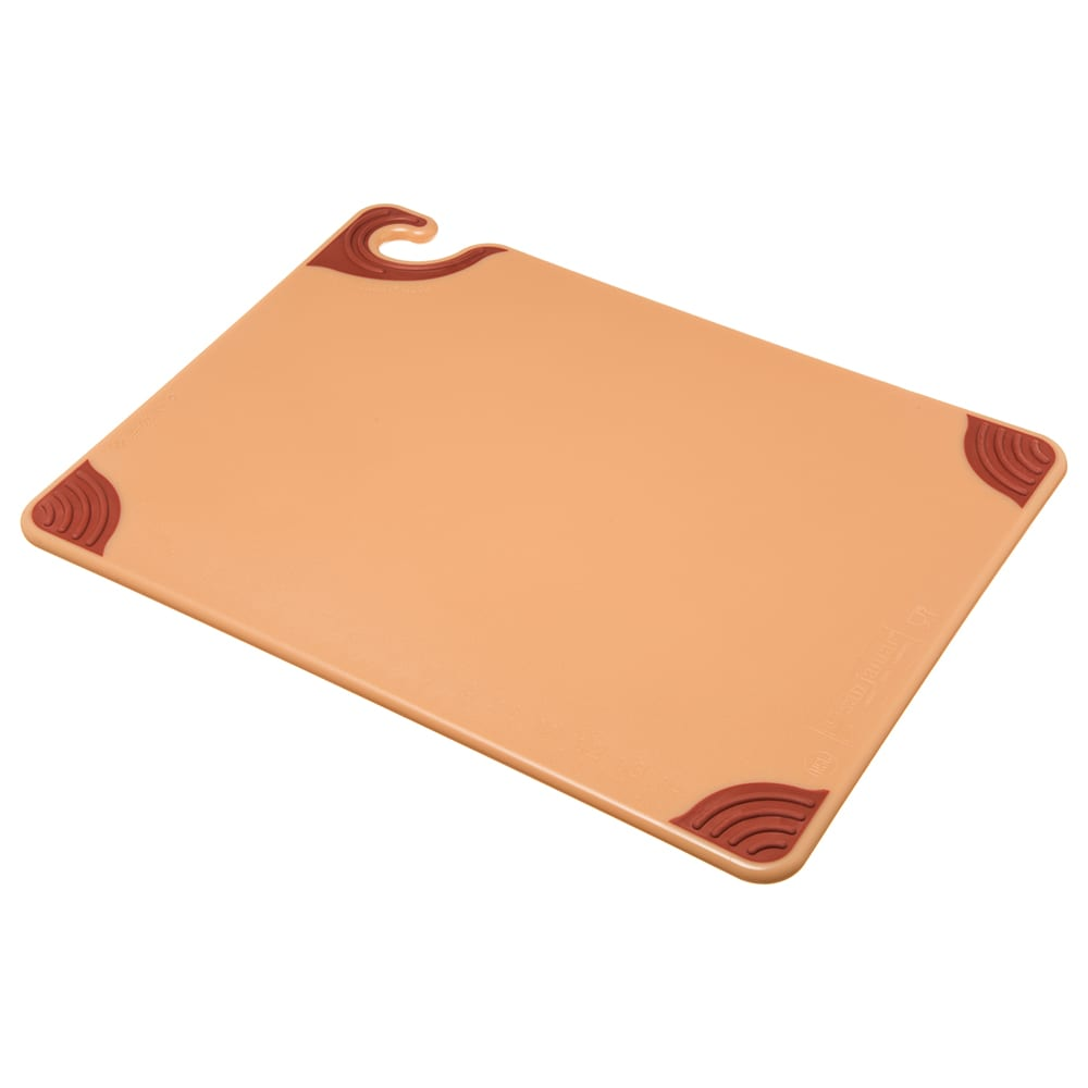 San Jamar CBG152012BR Saf-T-Grip Cutting Board, 15 x 20 x 1/2 in, NSF, Brown