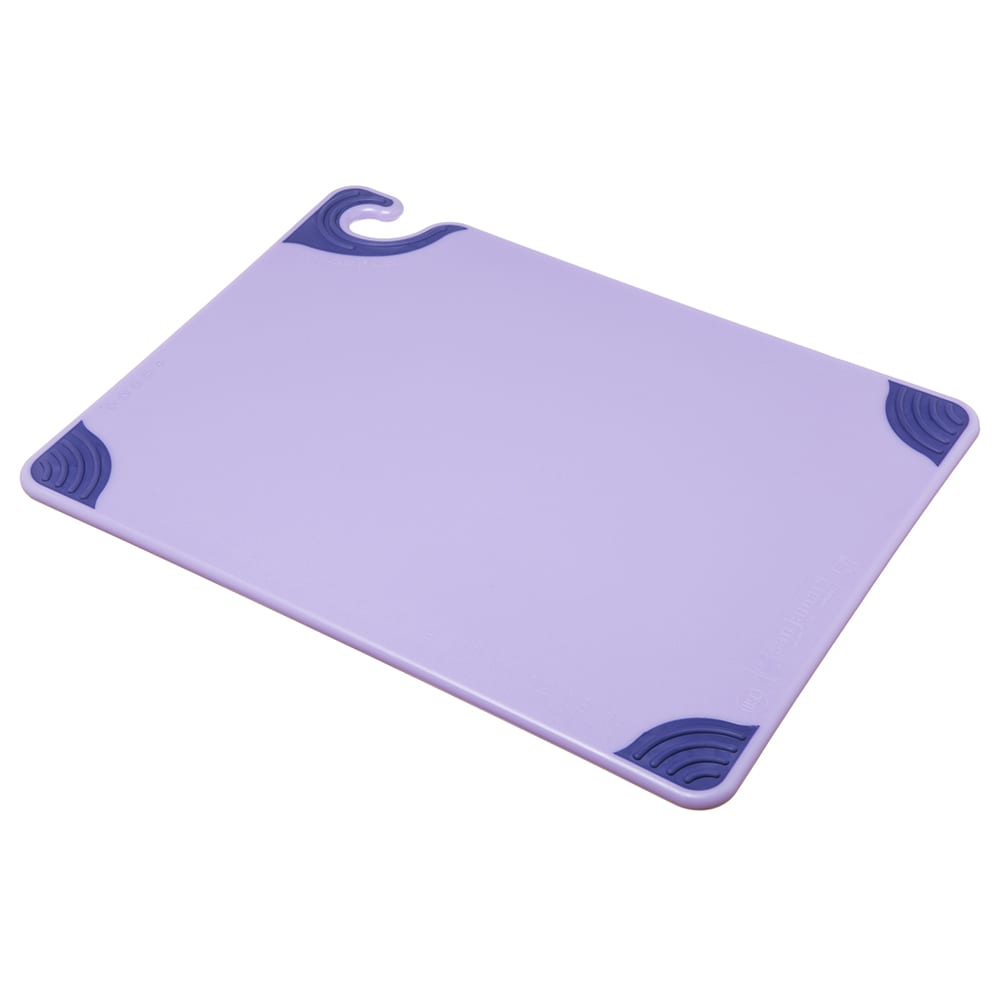 """San Jamar CBG152012PR Saf-T-Grip Cutting Board - 15"""" x 20"""", Co-Polymer, Allergen Purple"""