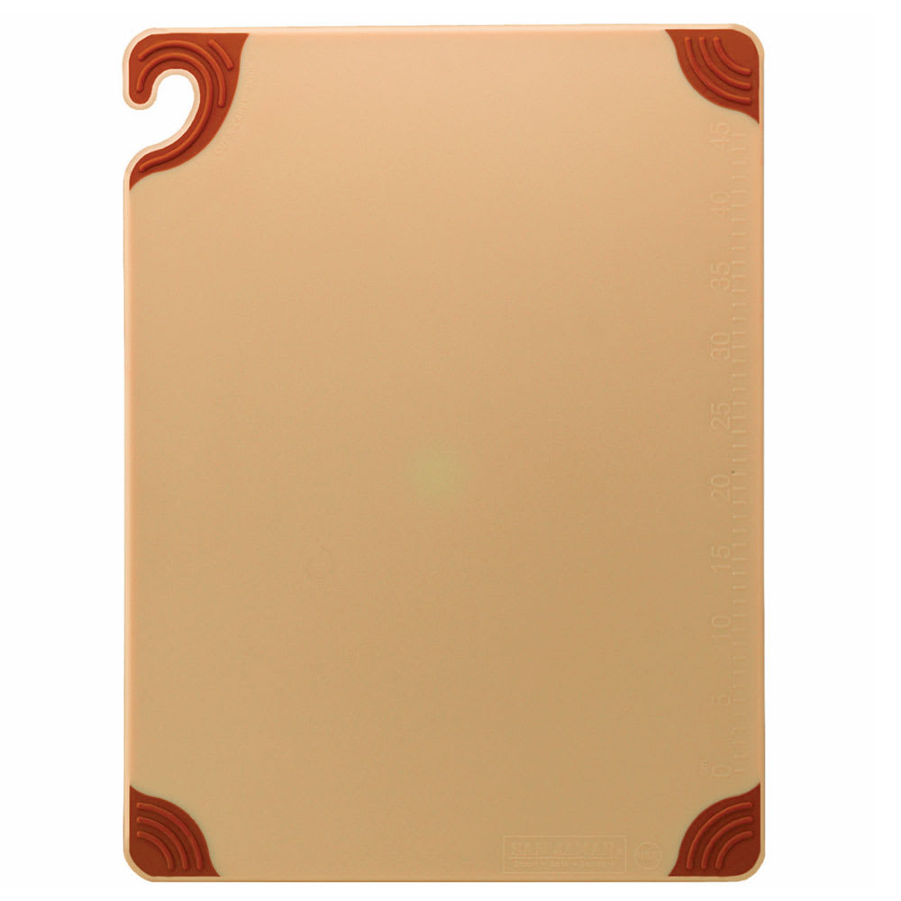 San Jamar CBG182412BR Saf-T-Grip Cutting Board, 18 x 24 x 1/2 in, NSF, Brown