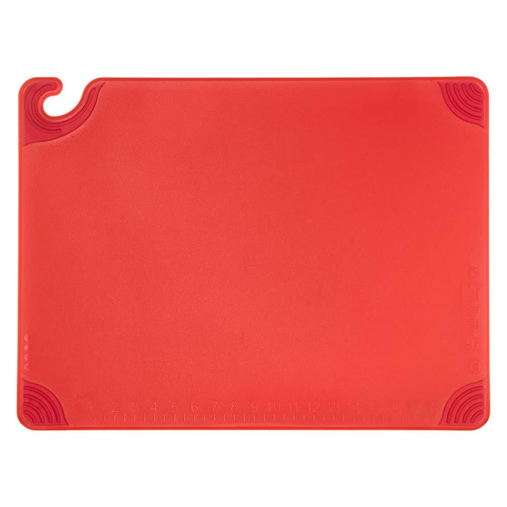 San Jamar CBG182412RD Saf-T-Grip Cutting Board, 18 x 24 x 1/2 in, NSF, Red