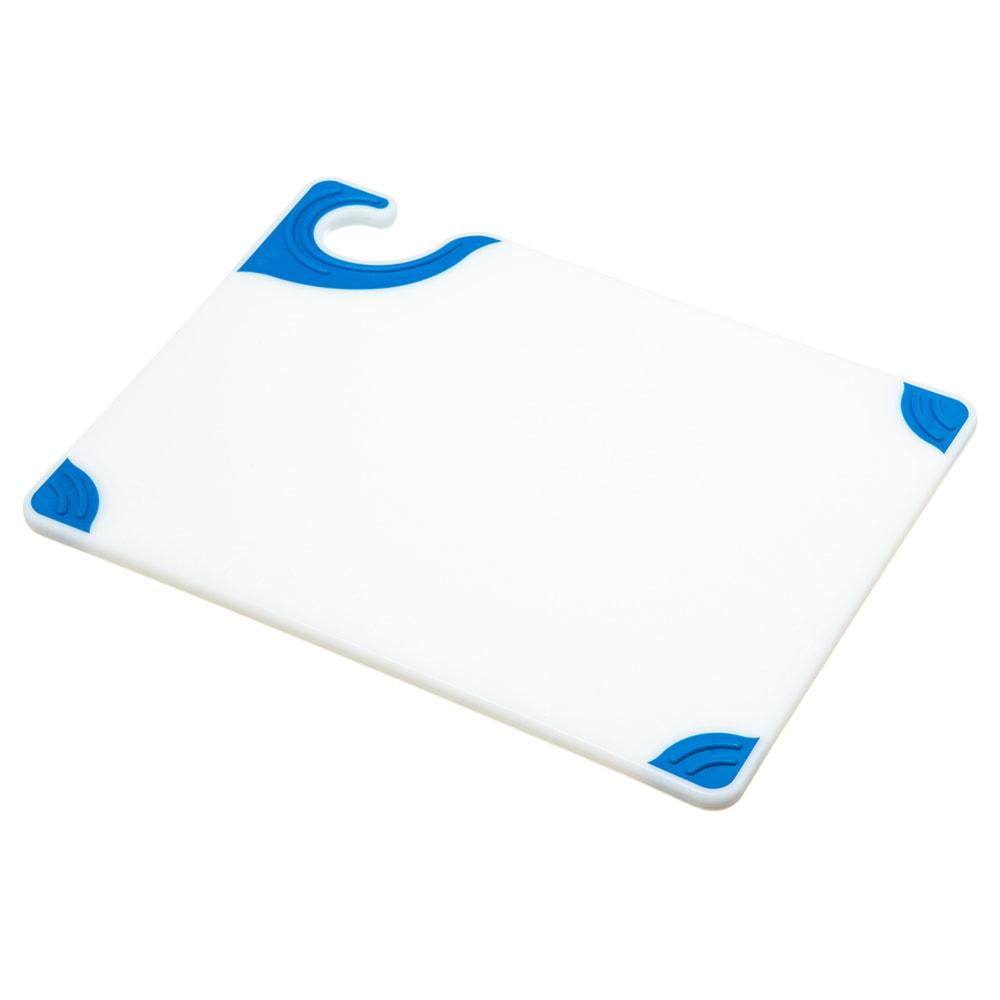 San Jamar CBGW912BL Saf-T-Grip Cutting Board, 9 x 12 x 3/8 in, NSF, White w/ Blue Corners