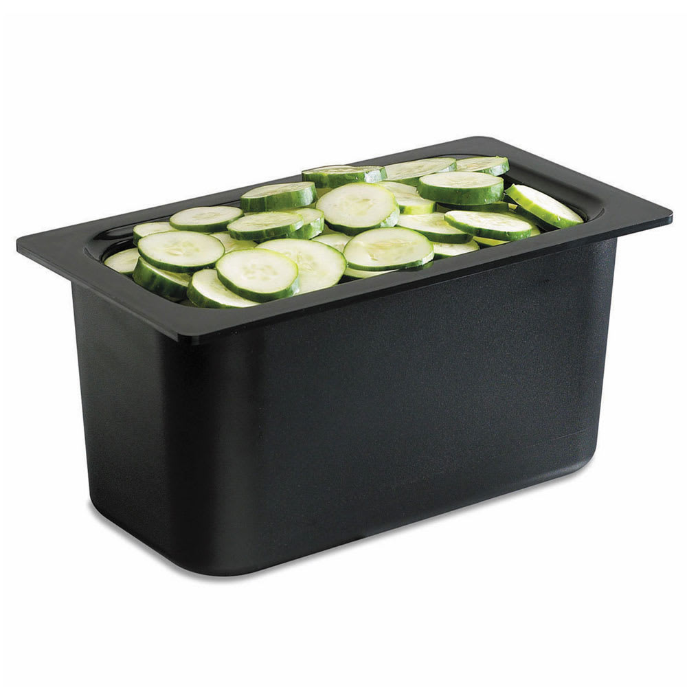 "San Jamar CI7002BK Chill-It Refrigerant Filled Divided Food Pan - 1/3 Size, 6"" Deep, Black"