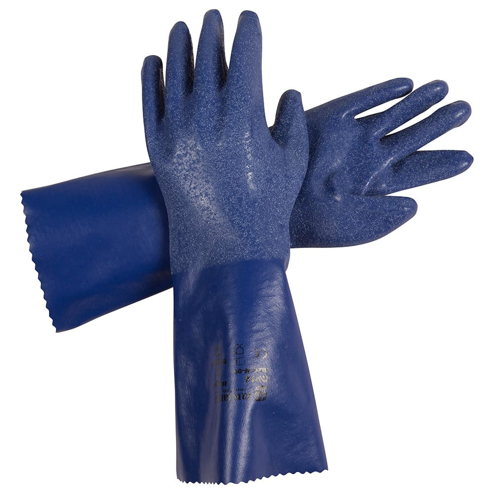 "San Jamar CP14-L 14"" Large Gloves w/ Cotton Lining - Nitrile, Blue"