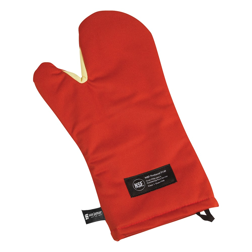 "San Jamar CTC15 15"" Cool Touch Oven Mitt w/ 500 F Heat Protection, Magnet & Loop, Kevlar"