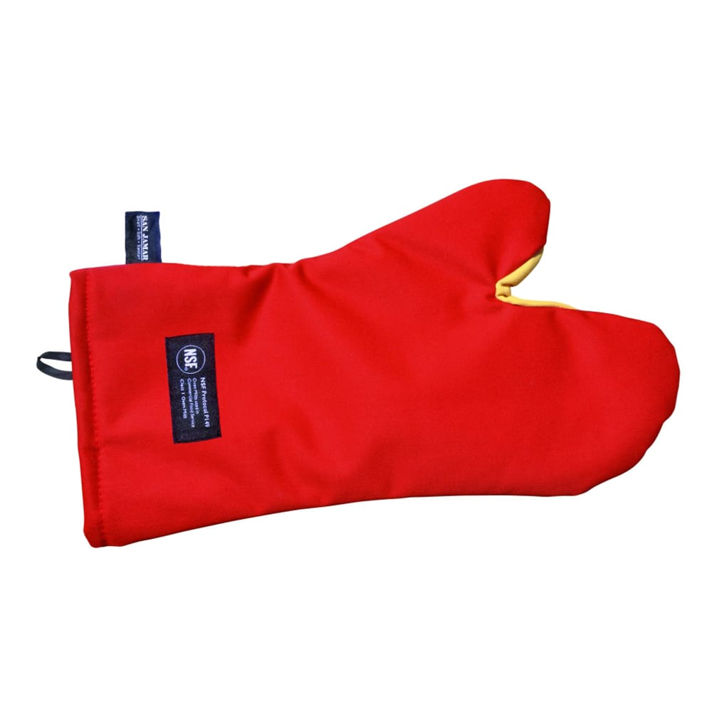 """San Jamar CTC24 24"""" Cool Touch Oven Mitt w/ 500-F Heat Protection, Magnet & Loop, Kevlar"""