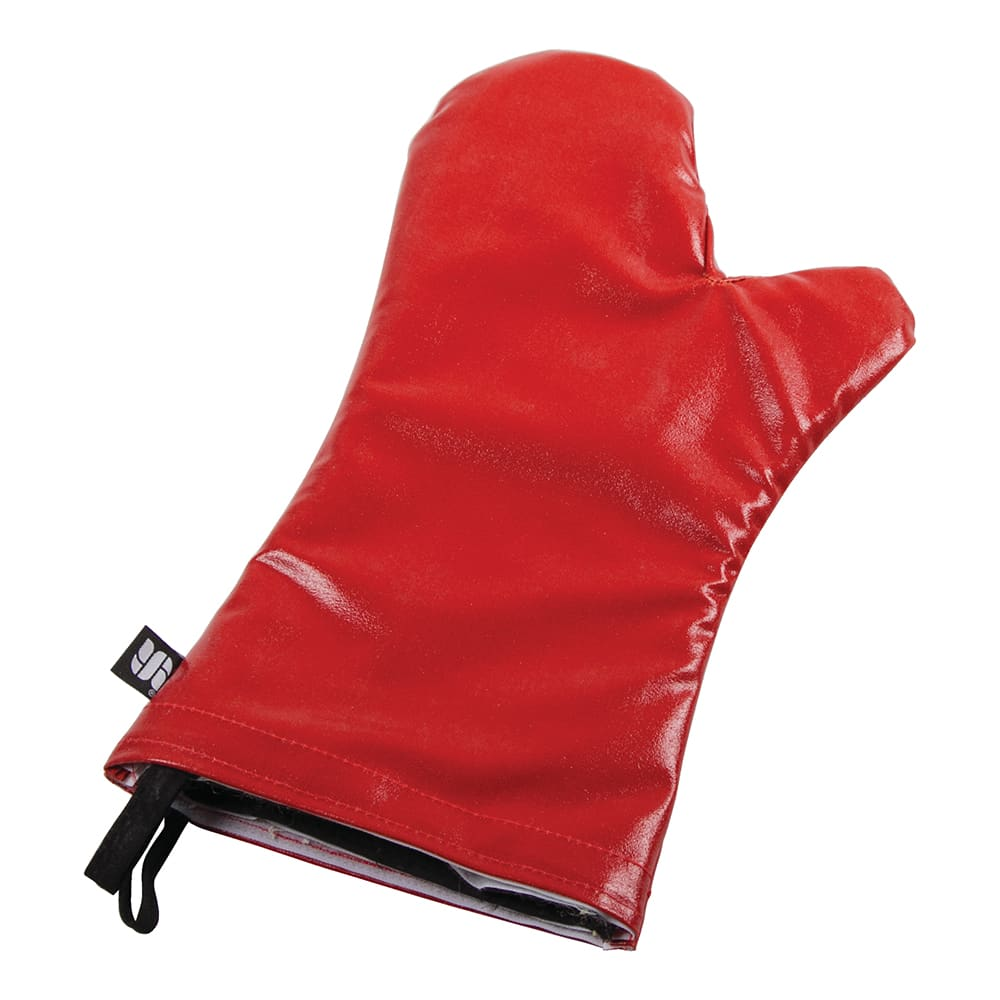 "San Jamar EZK15 15"" EZ-Kleen Oven Mitt - Poly-Cotton, Red"