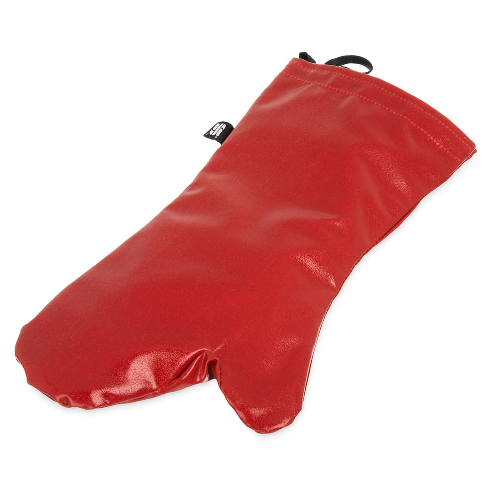 "San Jamar EZK17 17"" EZ-Kleen Oven Mitt - Poly-Cotton, Red"