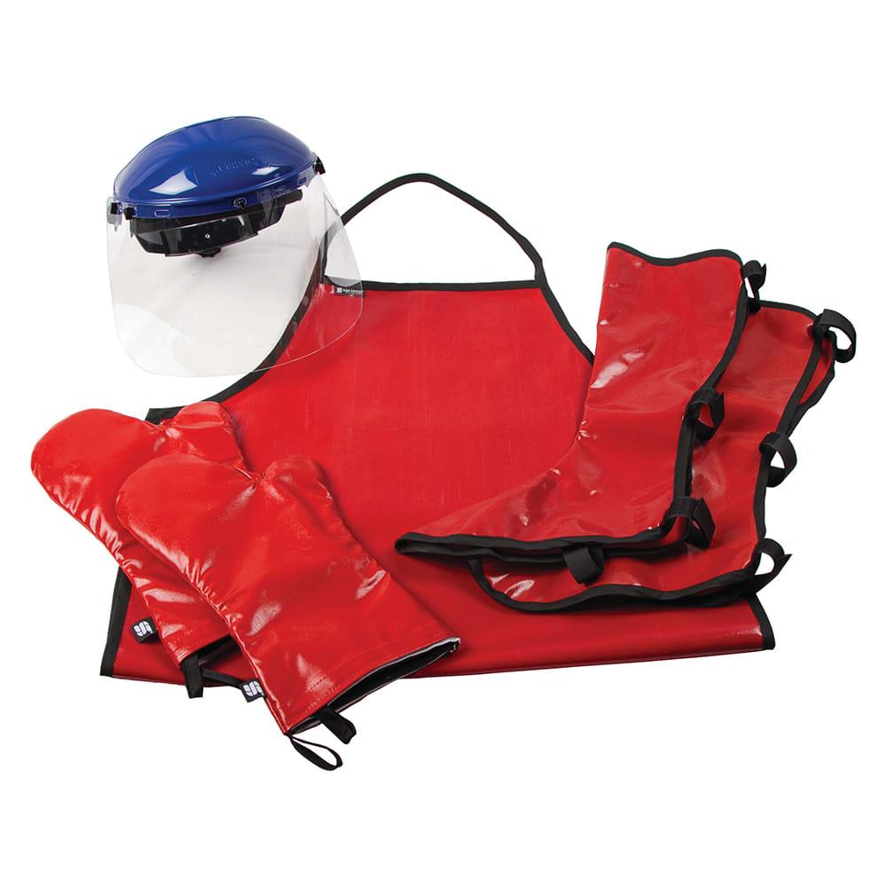 San Jamar EZKKIT EZ-Kleen Kit w/ (2) Oven Mitts, (1) Face Shield, (1) Apron, & (1) Shin Guard