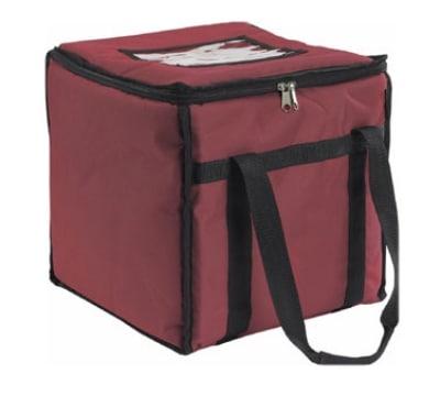 San Jamar FC1212-MRN Insulated Food Carrier, Heavy Vinyl Exterior, Zipper Closure, Burgundy