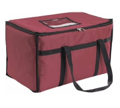 San Jamar FC2212-MRN Insulated Food Carrier, Heavy Vinyl Exterior, Burgundy