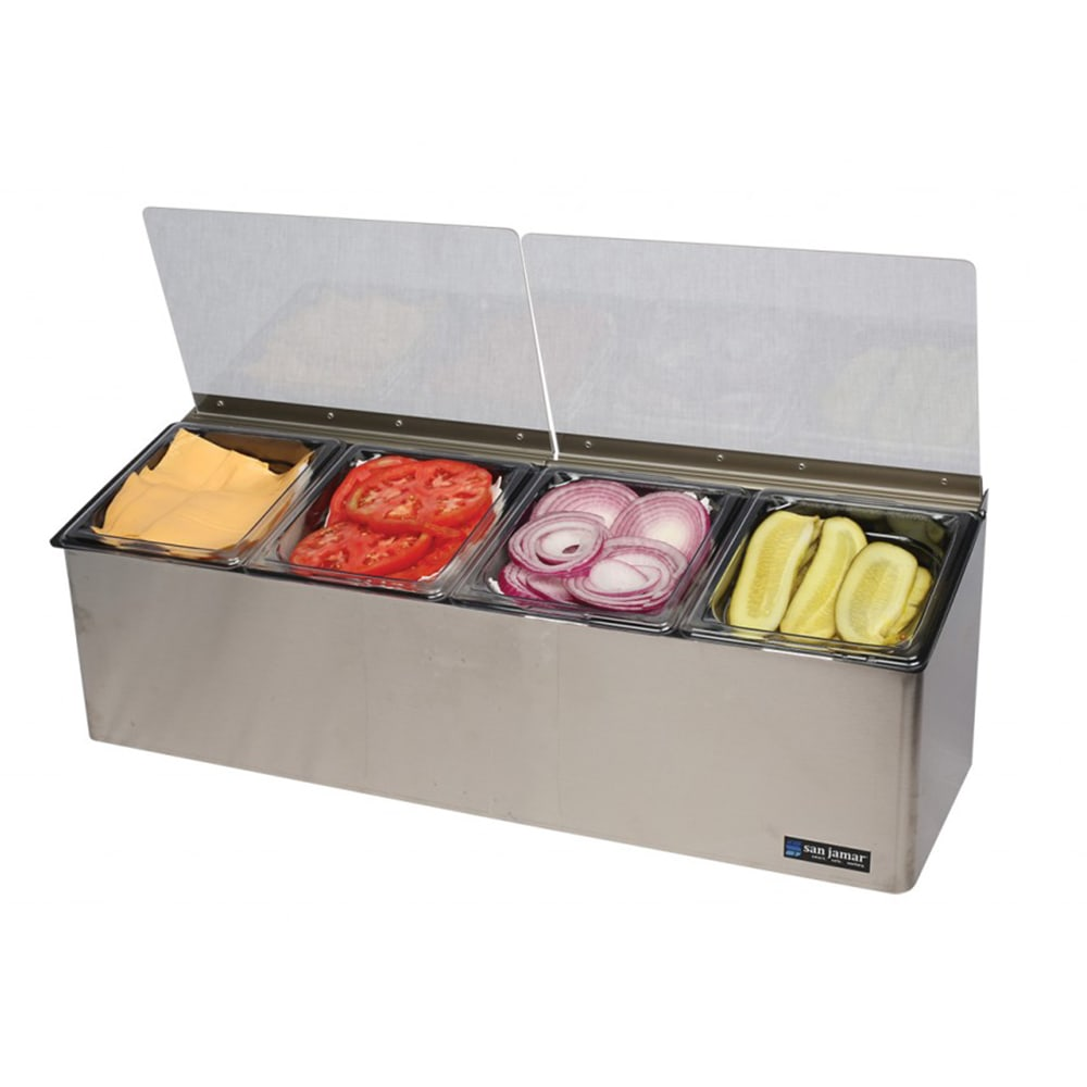 San Jamar FP8244FL Countertop Condiment Tray, Chilled, (4) 1/6 Size Pans, (2) Lids, Stainless