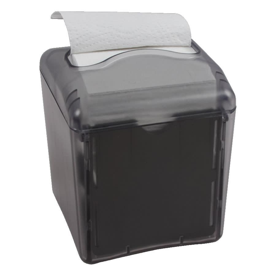 """San Jamar H4006TBK Tabletop Napkin Dispenser w/ 200 Napkin Capacity - 5.25"""" x 5"""" x 6.38"""", Black Plastic"""