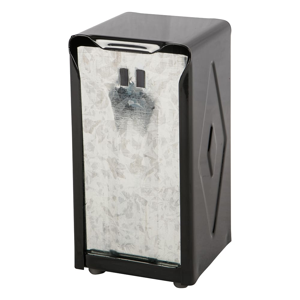 San Jamar H900BK Tabletop 150 Tallfold Napkin Dispenser - Two-Sided, Black & Stainless