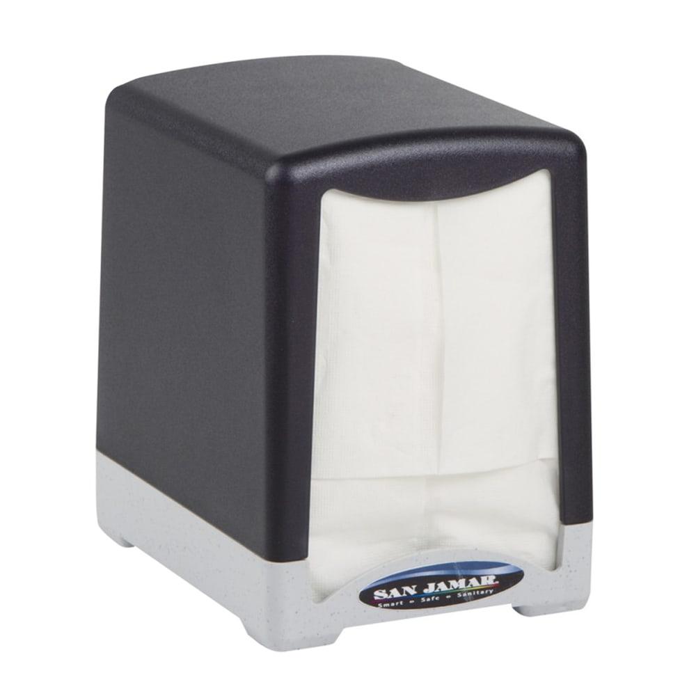 San Jamar H950TBK Tabletop 150 Lowfold Napkin Dispenser - Two-Sided, Black & Stainless