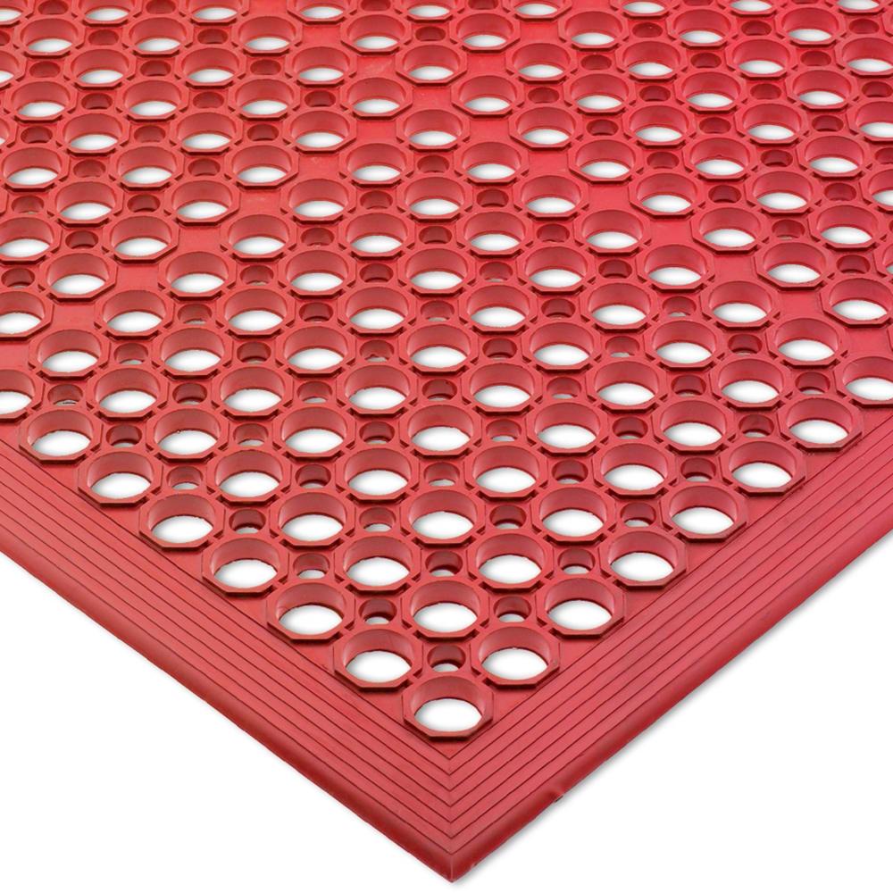 "San Jamar KM1200 Kitchen Mat, Anti-Slip, Grease Proof, 36 x 60"", Bagged, Red"