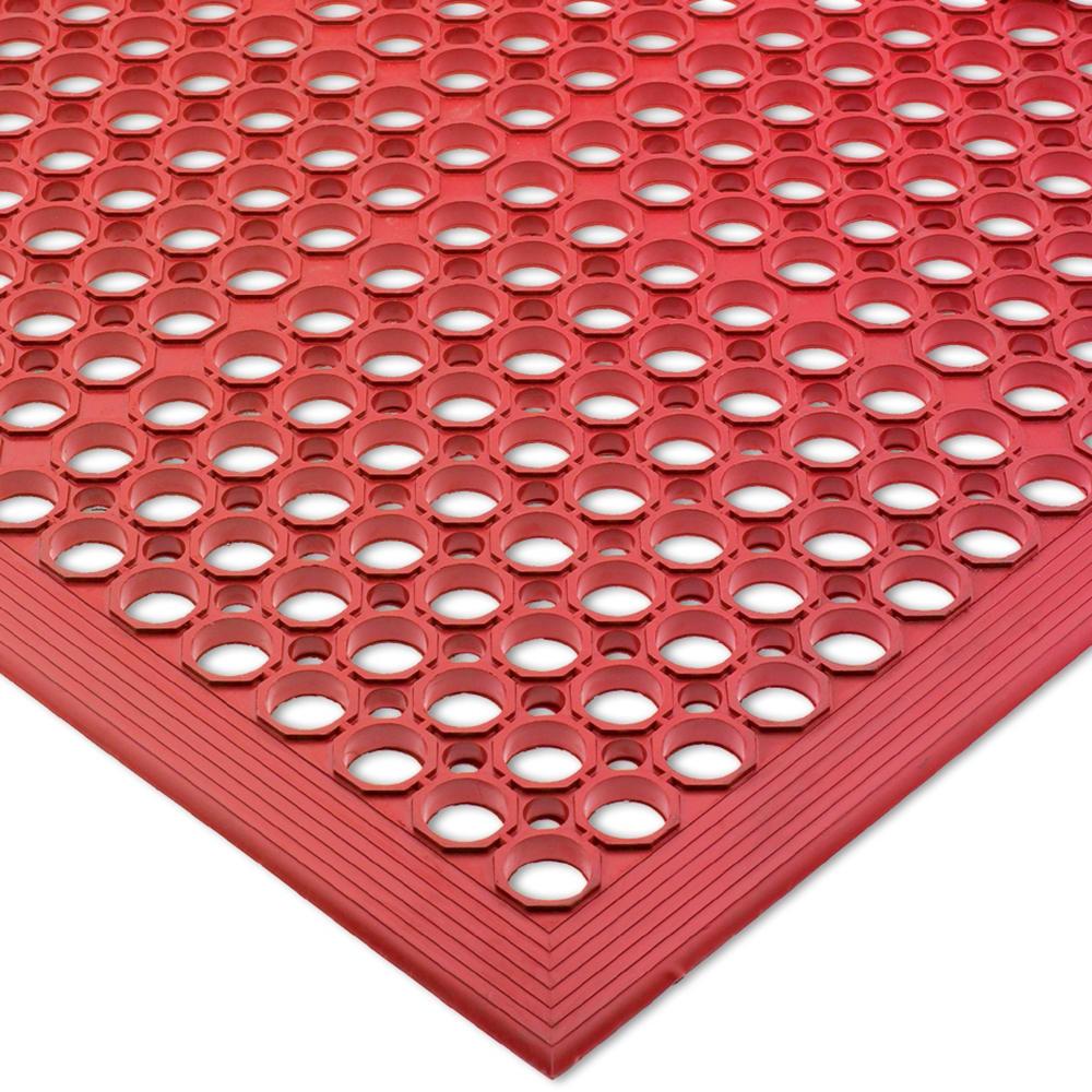 """San Jamar KM1200B Rubber Slip Proof Kitchen Mat, 36 x 60 x 1/2"""", Red"""