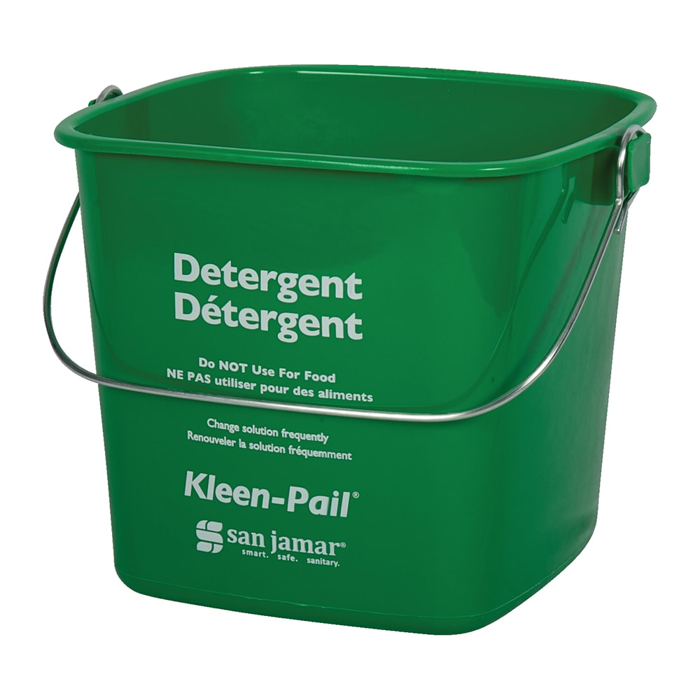 San Jamar KP256GN Kleen-Pail, 8 qt., Plastic, Green - Soaping Solution Printing