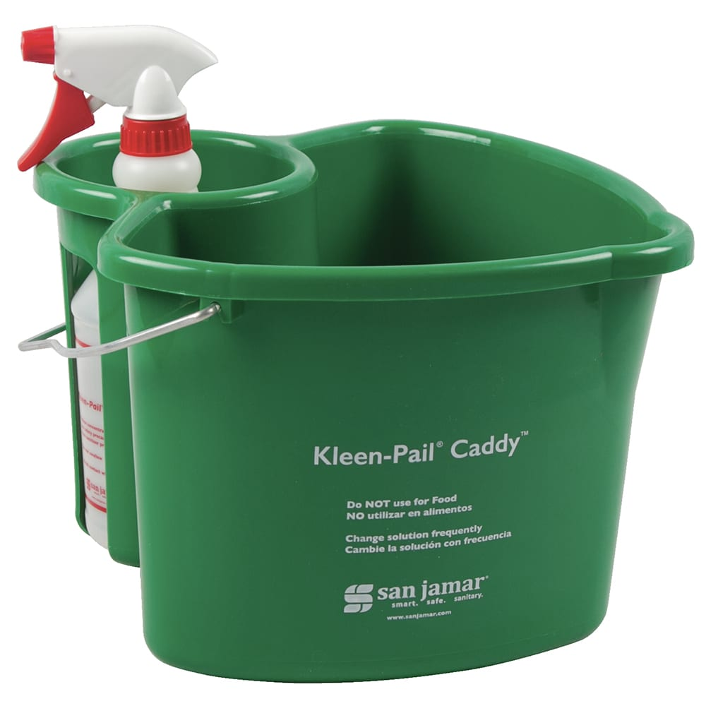 San Jamar KP500 Kleen Pail Caddy, Includes Pail & Spray Bottle