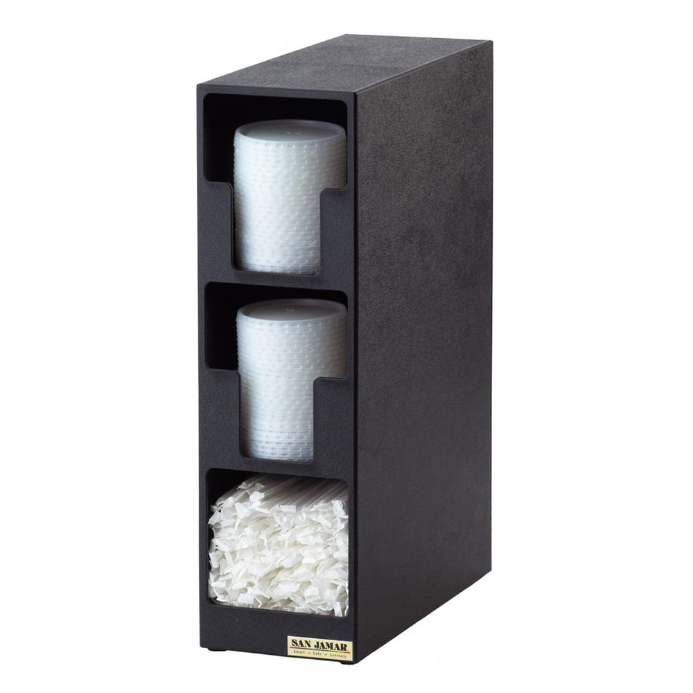 San Jamar L2202 Dimension Lid Tower, 2 Lid, 1 Straw, Black Poly
