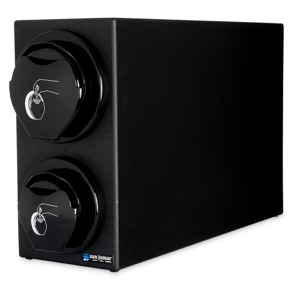 San Jamar L2912BK Counter Lid Dispenser Box System w/ 1-L2200C & 1-L2400C, Black Finish Trim Ring