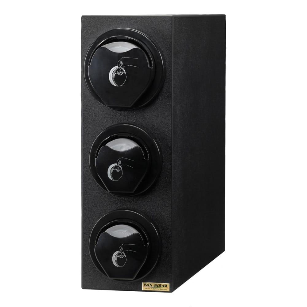 San Jamar L2913BK Counter Lid Dispenser Box System w/ 2-L2200C & 1-L2400C, Black Finish Trim Ring