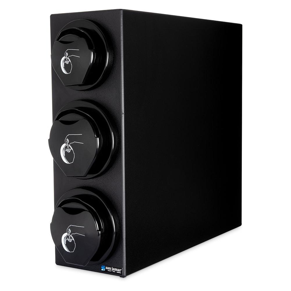 San Jamar L2923BK Counter Lid Dispenser Box System w/ 1 L2200C & 2 L2400C, Black Finish Trim Ring