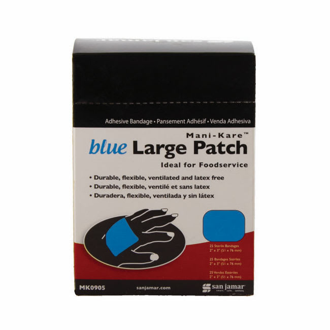 "San Jamar MK0905 Mani-Kare Large Flexible Bandages - 2"" x 3"", Blue"