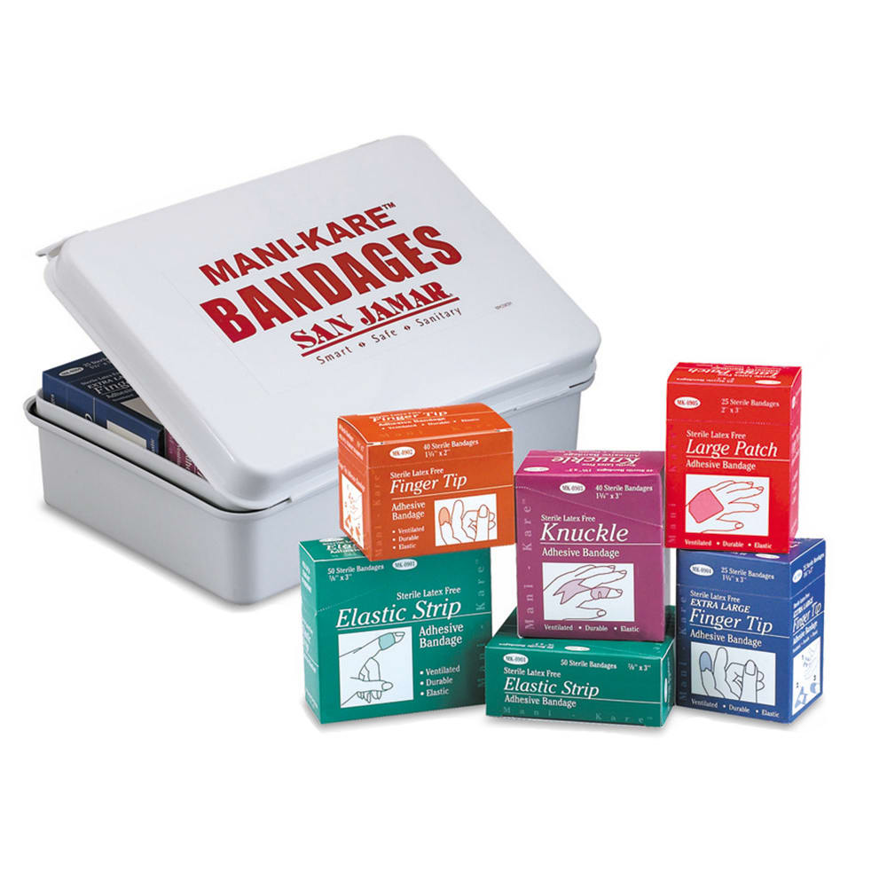 San Jamar MK0906 Mani-Kare Kolor-Cut Fabric Bandage Combo Pack
